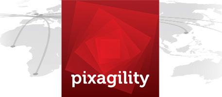 Le logo Pixagility et la carte de ses points de présence (POP) dans le monde