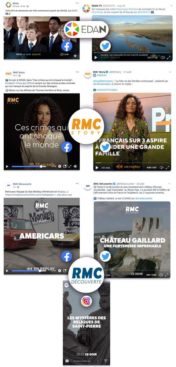 Animations Facebook, Twitter, Instagram for EDAN TV, RMC Story, RMC Découverte